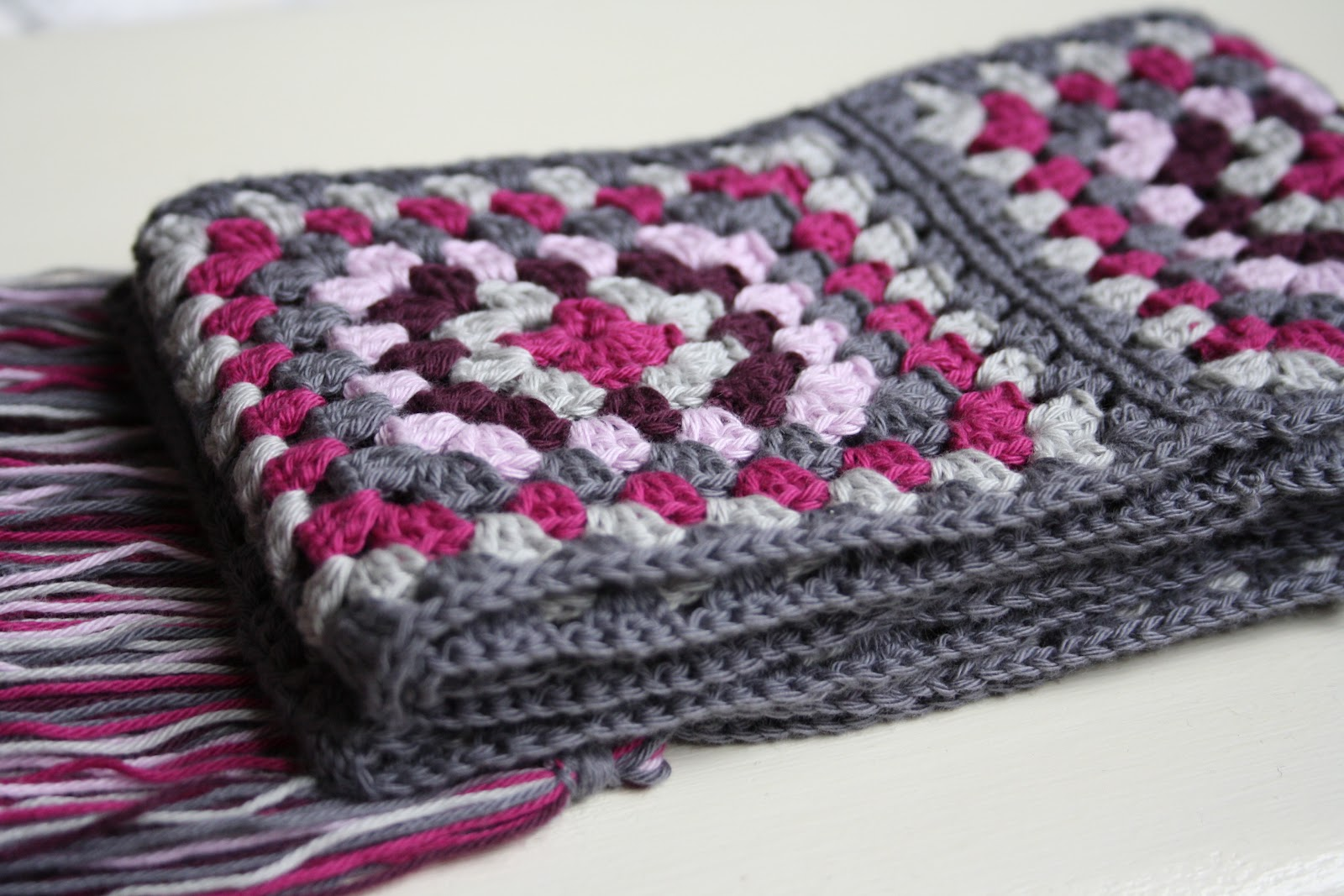 Free Crochet Granny Square Scarf Patterns : triangle granny square scarf crocheted in thread with a ...