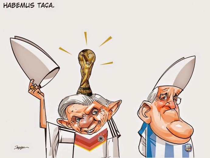 Alemanha, Argentina, Cartoon, Papa Bento XVI, Papa Francisco, Habemus Taça