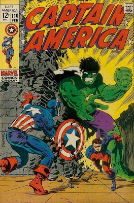 Captain America #110, Cap watches on as Rick Jones, dressed as Bucky, flees from a giant Hulk, cover by Jim Steranko