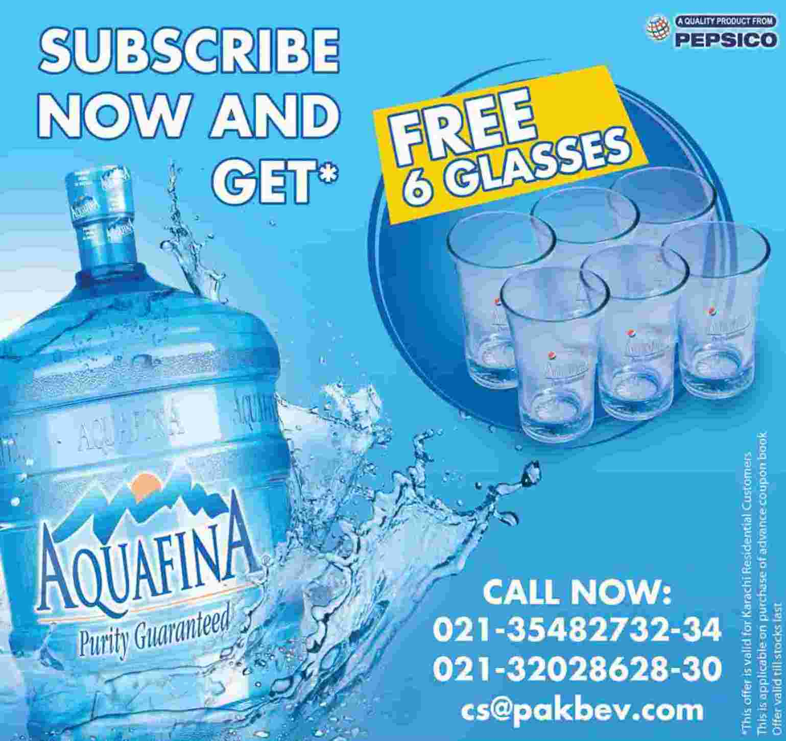 Aquafina Drinking Water Purity Guaranteed Subscribe Now And Get