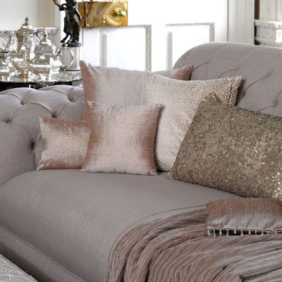 Sequinned cushion in pewter by Butterfly Lane