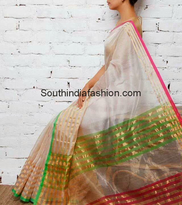 white light weight silk saree