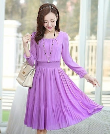 New 2015 Spring Summer Long Sleeve Elastic Waist Pleated Chiffon Dress