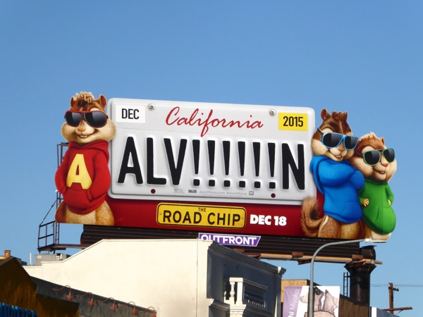 Alvin and the Chipmunks California license plate billboard