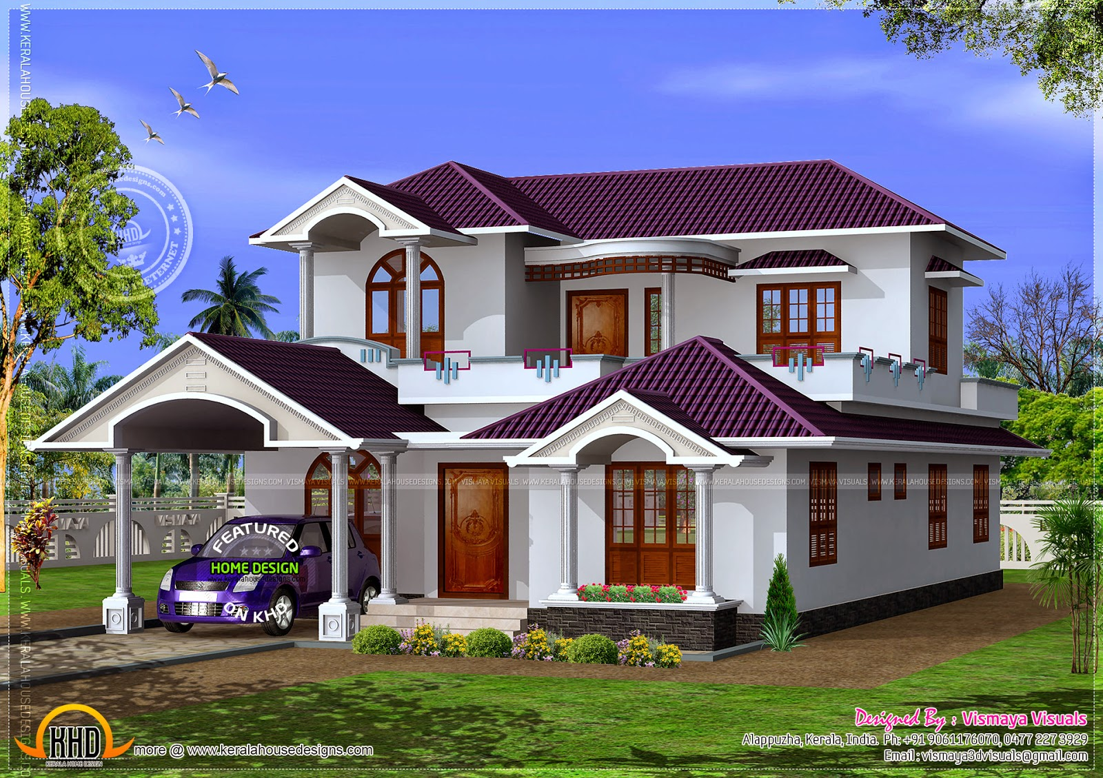 1972 sq feet kerala model house home kerala plans for Indian house portico models