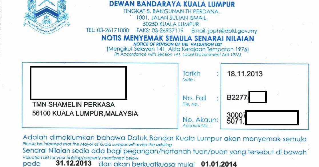 Cukai Pintu Atau Cukai Taksiran Dewan Bandaraya Kuala Lumpur Dbkl Notis Menyemak Semula Senarai Nilaian