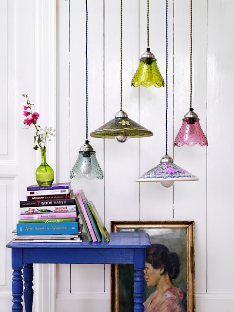 coloured glass pendant lampshades