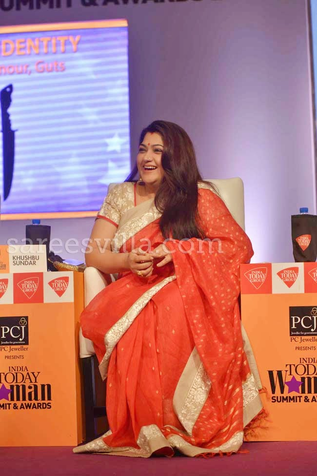 Actress Khushboo Sundar In Orange Silk Saree