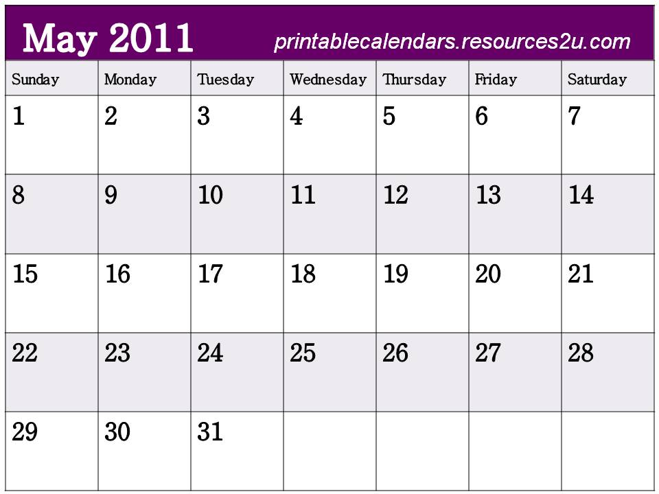 free printable blank calendars 2011. Free Big May 2011 Calendar to