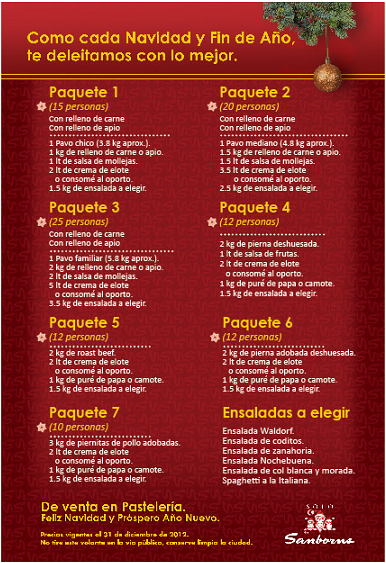I sanborns 12 12 for Menu de sanborns