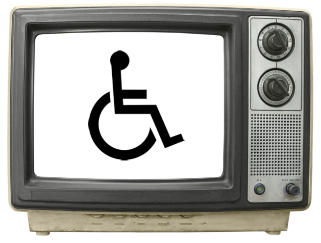 Television set with disability symbol on the screen
