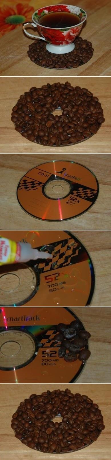 descanso de xícara feito com cds e grãos de café artesanto