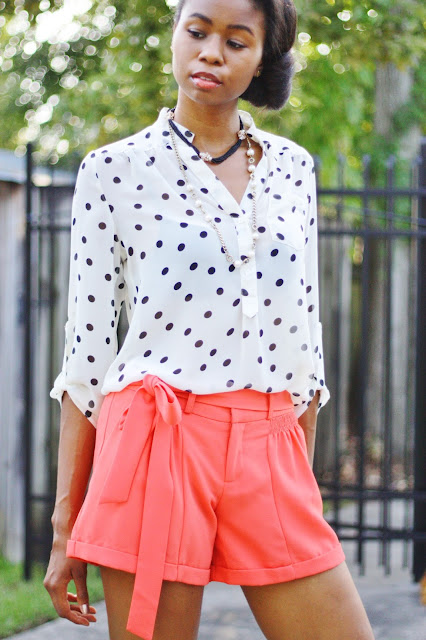 side bun and casual polka dot outfit
