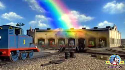 Find the end of the rainbow in the sky above Thomas 7 friends wooden railway Tidmouth train shed