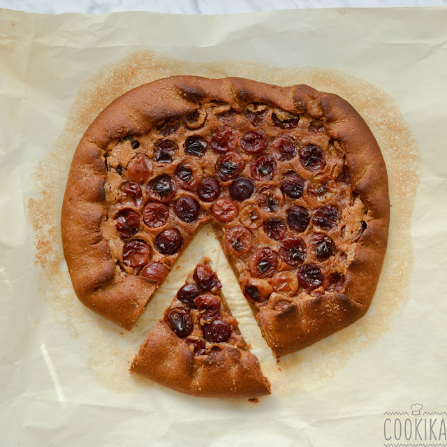 galette with grapes and peanut butter