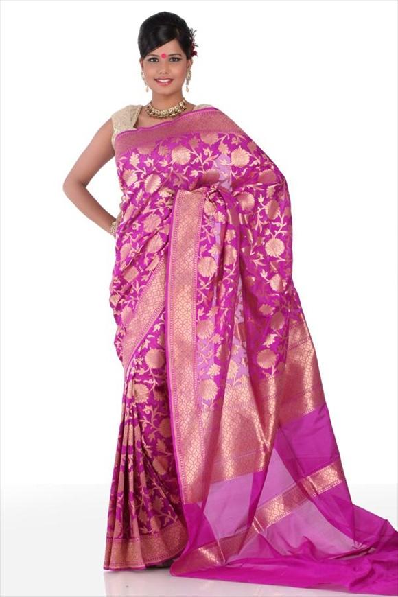 Bright Violet Kattan Silk Banarasi Saree