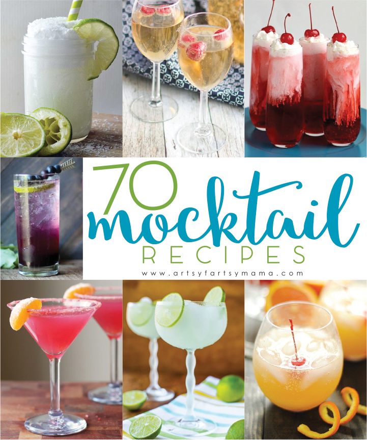 70 Mocktail Recipes at artsyfartsymama.com