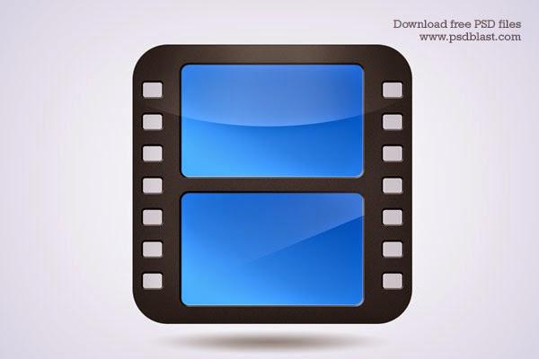 Movie Film Strip Icon PSD