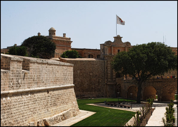 Exterior view of former Mdina moat, now a park, Malta