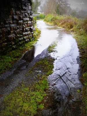 flooded road under the railroad bridge in Oughterard