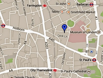 Map showing Cock Lane, London