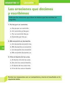 Apoyo Primaria Español 2do grado Bloque 4 lección 4 Las oraciones que decimos y escribimos