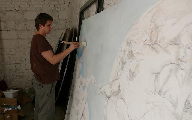 Malowanie obrazu olejnego o dużym formacie, reprodukcja znanego dzieła Michała Anioła Stworzenia Adama