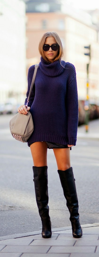 Navy Knitted Sweater Dress with Over the Knee Boots | Chic Street Outfits