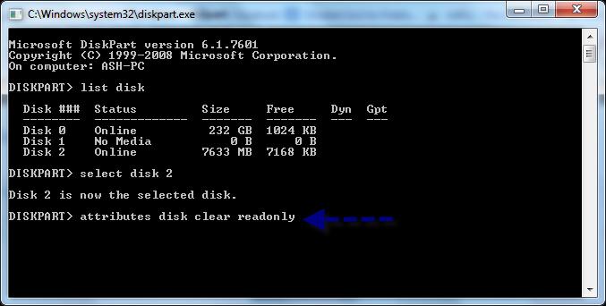 usb flash drive write protected