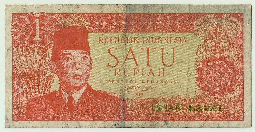 Uang kuno Seri Soekarno Irian Barat tahun 1960 Pecahan 1 rupiah