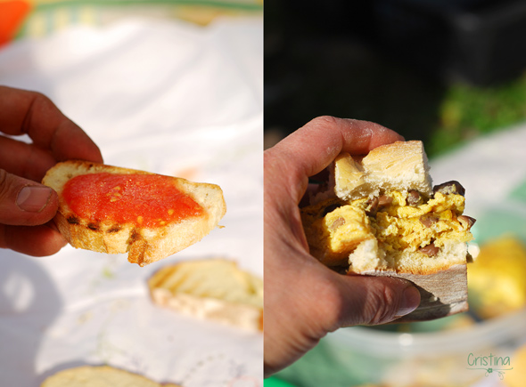 tostada de tomate triturado y bocata de tortilla de setas