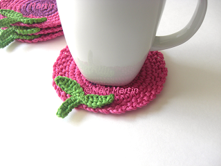 Crochet Coasters Flowers Pink Purple
