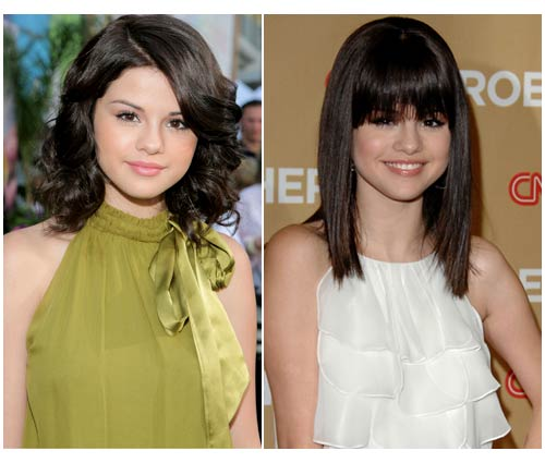 selena gomez hairstyles with bangs. selena gomez haircut pictures.