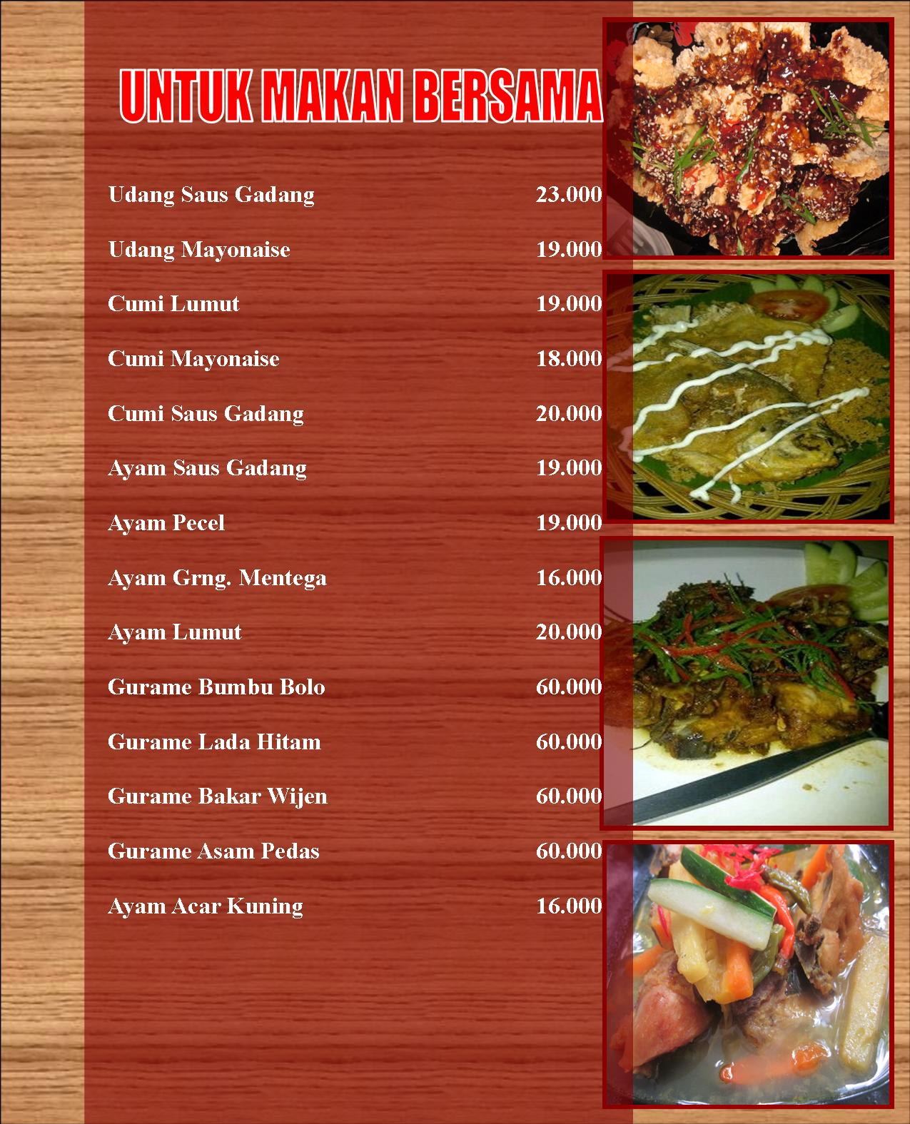 Contoh daftar menu ala carte masakan indonesia the best cart for Table d hote 52