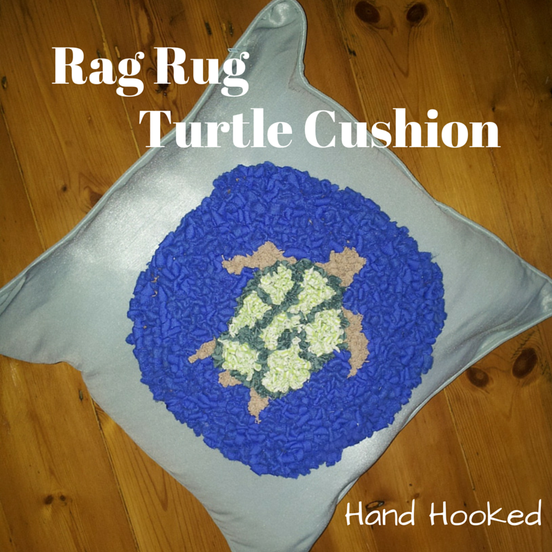 Life, Love And Living: Rag Rug Hand Hooked Turtle Cushion