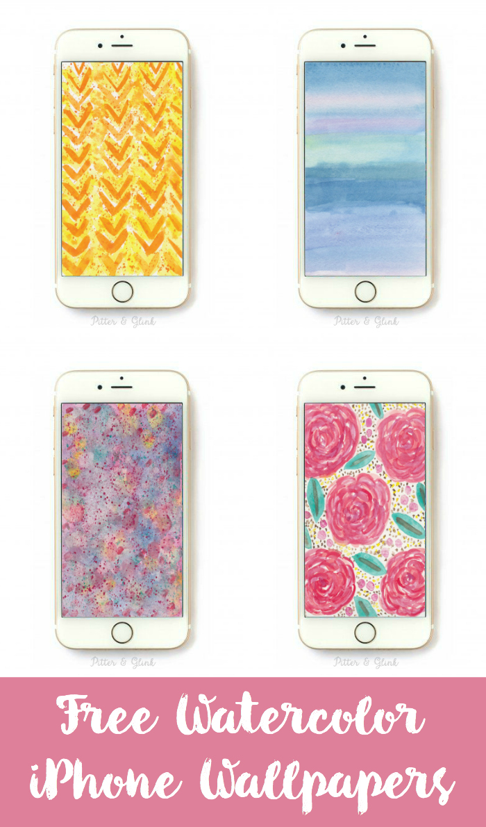 Free Hand-Painted Watercolor iPhone Wallpaper. www.pitterandglink.com