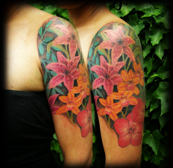 floral half sleeve tattoos for women