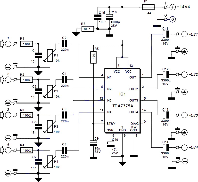 amplifier uses ic tda7375a