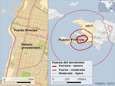 Mapa terremoto de Haití 2010
