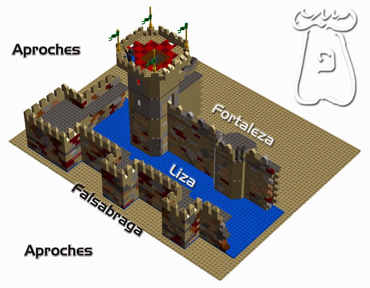 Ejemplo 1: En azul se muestra la liza, terreno comprendido entre la falsabraga y los paños del núcleo de la fortaleza