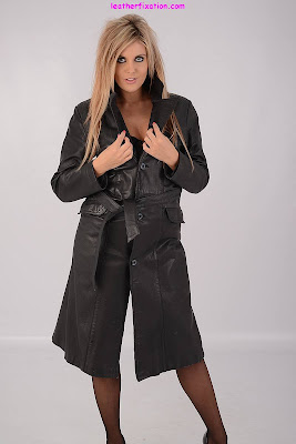 Sexy Blonde in Leather Trench Coat and Stockings
