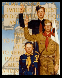 Norman Rockwell portrait of a liberty bell, boy scout, cub scout, and eagle scout