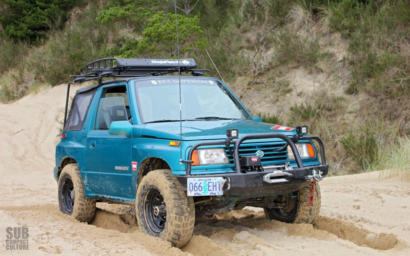 The Teal Terror making it up a dune ... almost.