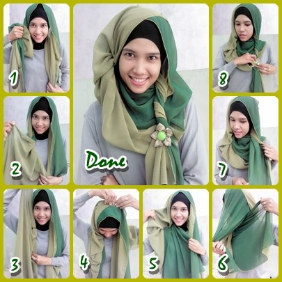 Cara Memakai Jilbab Pashmina 2 Tone