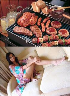 Carne asada muchacha linda
