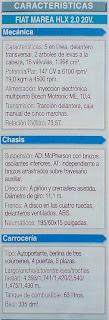 caracteristicas tecnicas motor caja fiat marea hlx 2.0 20v