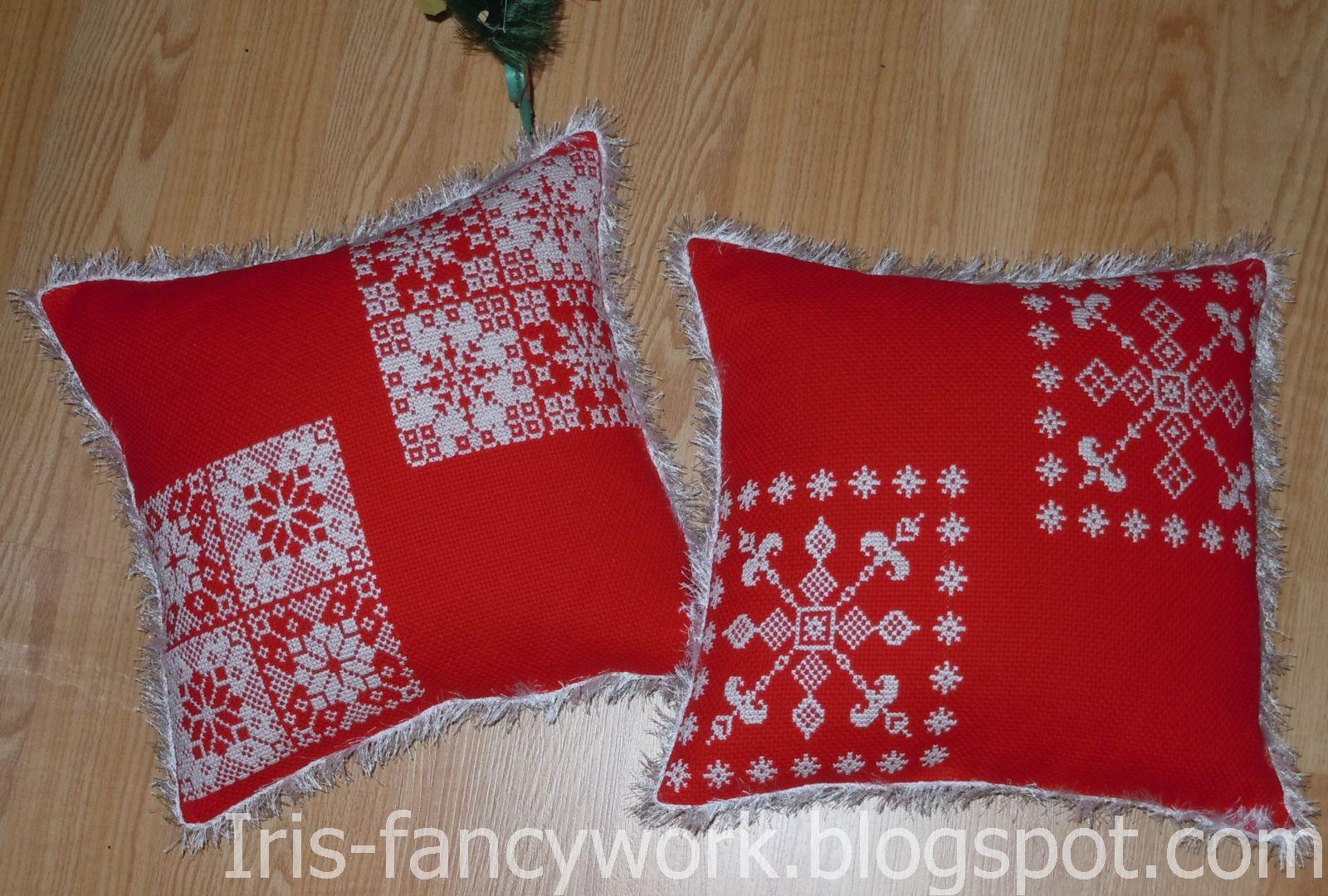 My Fancywork Blog: Красная <b>новогодняя</b> диванная <b>подушка</b> со ...