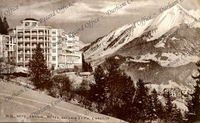 Postcard of the English Hotel at Leysin, Switzerland, from the collection Private Kenneth Robertson, [1916-1917] (D/DLI 7/579/5)