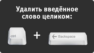 Горячие Клавиши в Windows: Удаление введённого слово целиком