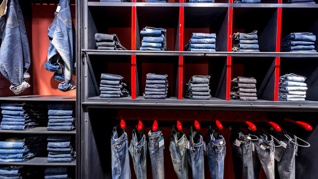 Jeans-at-shelf-in-shop
